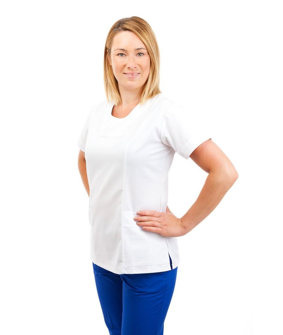 T04 White - Nurses Uniform Fitted Scrub Round Neck T04