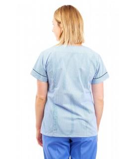 T04 Light Blue Pinstripe - Nurses Uniform Fitted Scrub Round Neck T04