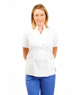 White - Nurses Top Mandarin Collar cut away front T09 T09