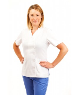 White - Nurses Uniforms Ladies Tunic Side Closing with Mandarin Collar T11 T11