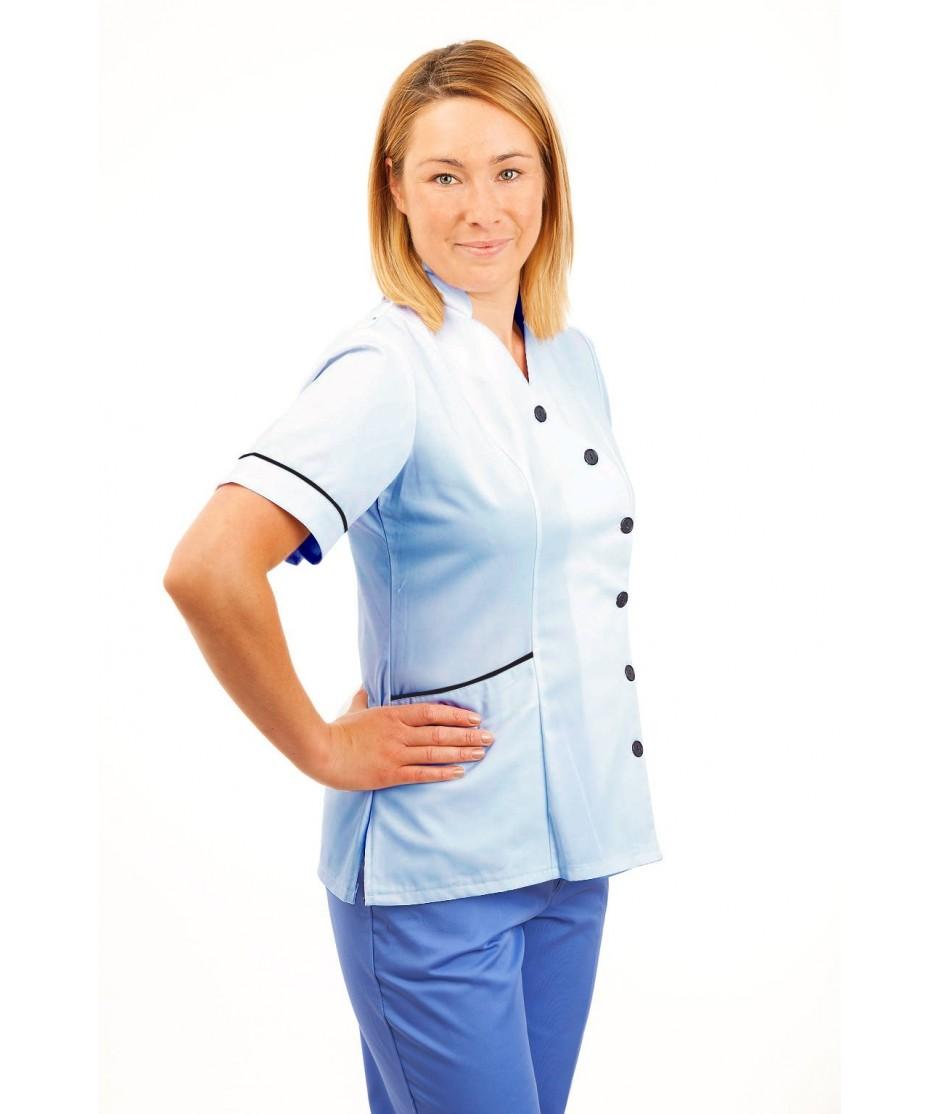T11 Sky Blue - Nurses Uniforms Ladies Tunic Side Closing with Mandarin Collar T11