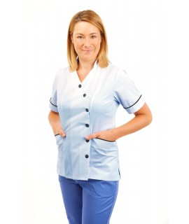 T11 Sky Blue - Nurses Uniforms Ladies Tunic Side Closing with Mandarin Collar T11