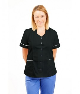 T01 Light Blue Pinstripe - Nurses Uniform Tunic Revere Collar
