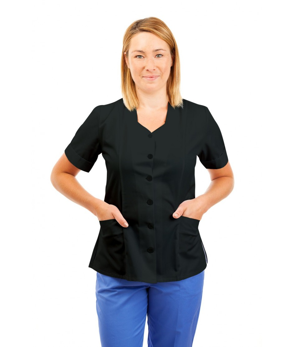 T03 Nurses Tunic Sweetheart Neckline Black T03-BLA