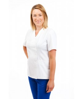 White - Nurses Uniforms Ladies Side Closing Tunic V Neck T12 T12