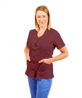 T03 Nurses Tunic Sweetheart Neckline Wine T03-WIN