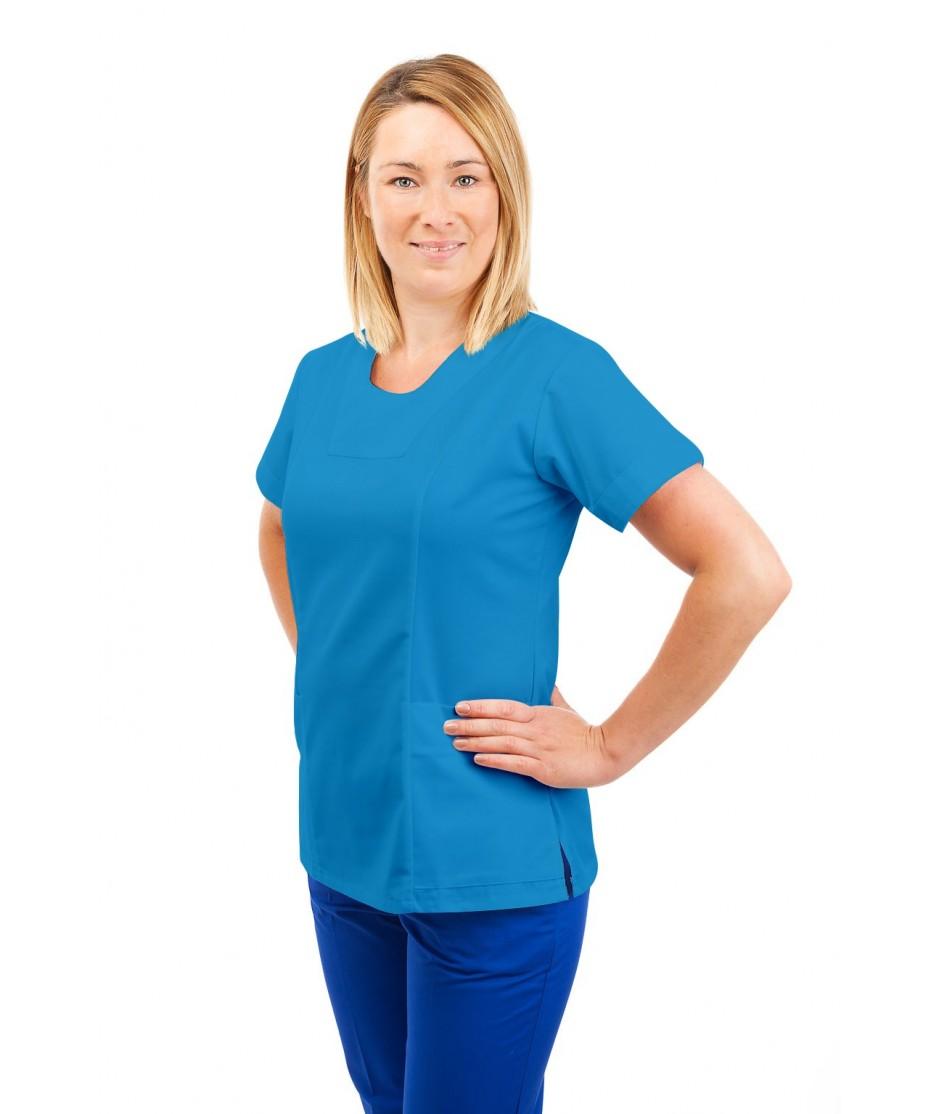 T04 Nurses Uniform Fitted Scrub Round Neck Kingfisher T04-KI