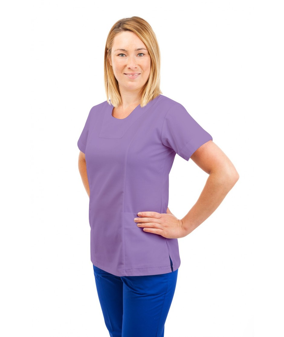 T04 Nurses Uniform Fitted Scrub Round Neck Lilac T04-NLI