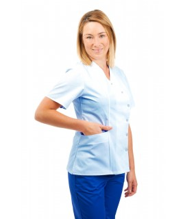 T12 Sky Blue - Nurses Uniforms Ladies Side Closing Tunic V Neck T12