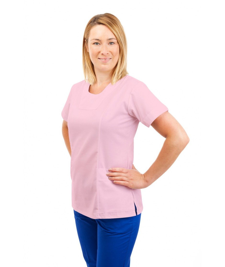 T04 Nurses Uniform Fitted Scrub Round Neck Pink T04-LPI