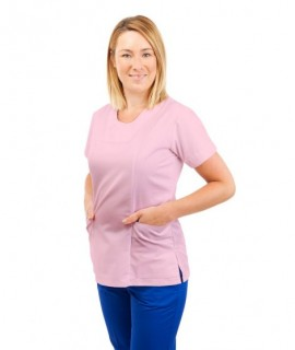 White - Nursing Ladies Tunic Sweetheart Neckline with Zip T06