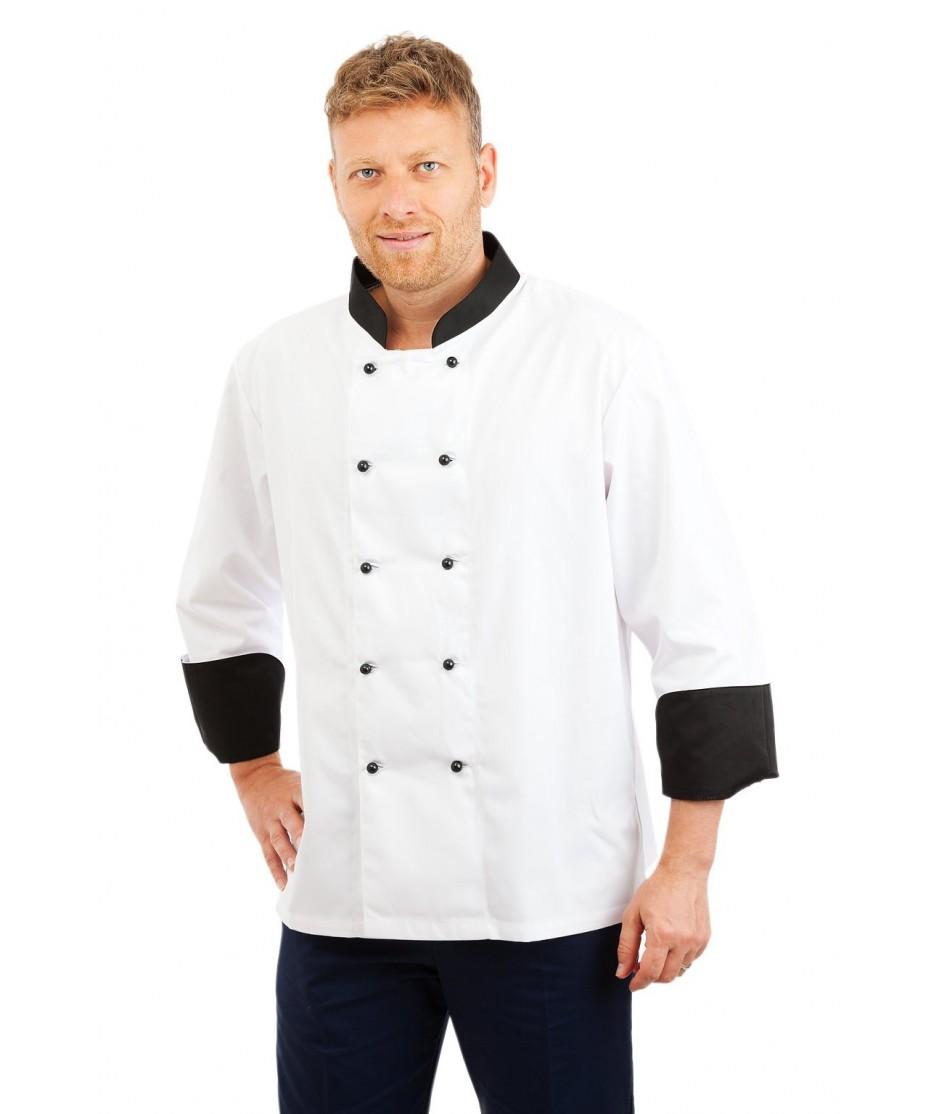 CH01 : Chefs Jacket Long Sleeve Black Trim CH01