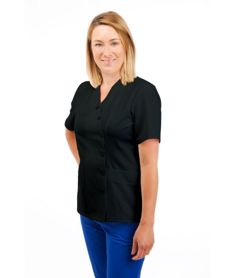 T12 Nurses Uniforms Ladies Side Closing Tunic V Neck Black T12-BLA