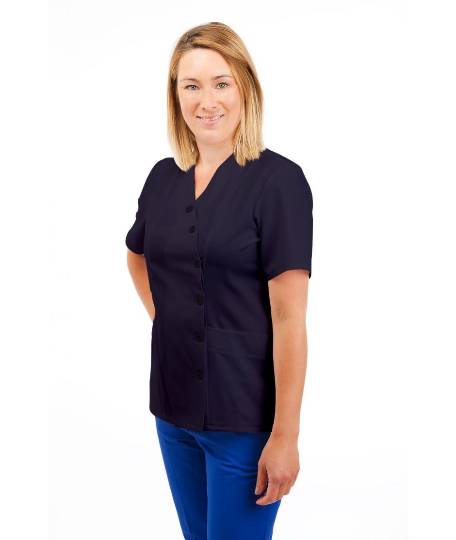T12 Nurses Uniforms Ladies Side Closing Tunic V Neck Navy T12-NAV