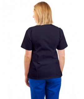 T12 Nurses Uniforms Ladies Side Closing Tunic V Neck Navy T12-NAV