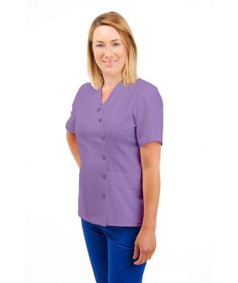 T12 Nurses Uniforms Ladies Side Closing Tunic V Neck Lilac T12-NLI