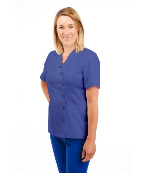 T12 Nurses Uniforms Ladies Side Closing Tunic V Neck Metro Blue T12-MET
