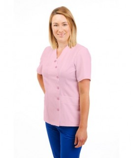 T12 Nurses Uniforms Ladies Side Closing Tunic V Neck Pink T12-LPI