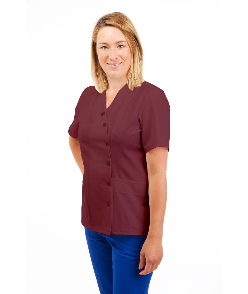 T12 Nurses Uniforms Ladies Side Closing Tunic V Neck Wine T12-WIN