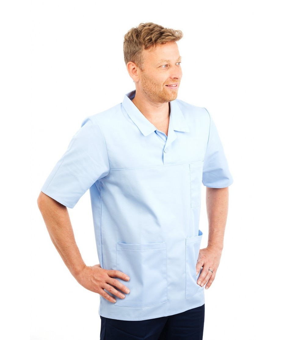 T22 Sky Blue - Nurses Top Revere Collar Male T22