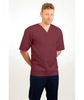 T21 Nursing Uniforms Top V Neck Male Wine T21-WIN