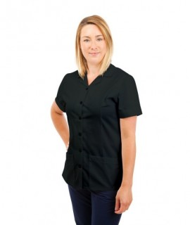 T01 Nurses Uniform Tunic Revere Collar Black T01-BLA