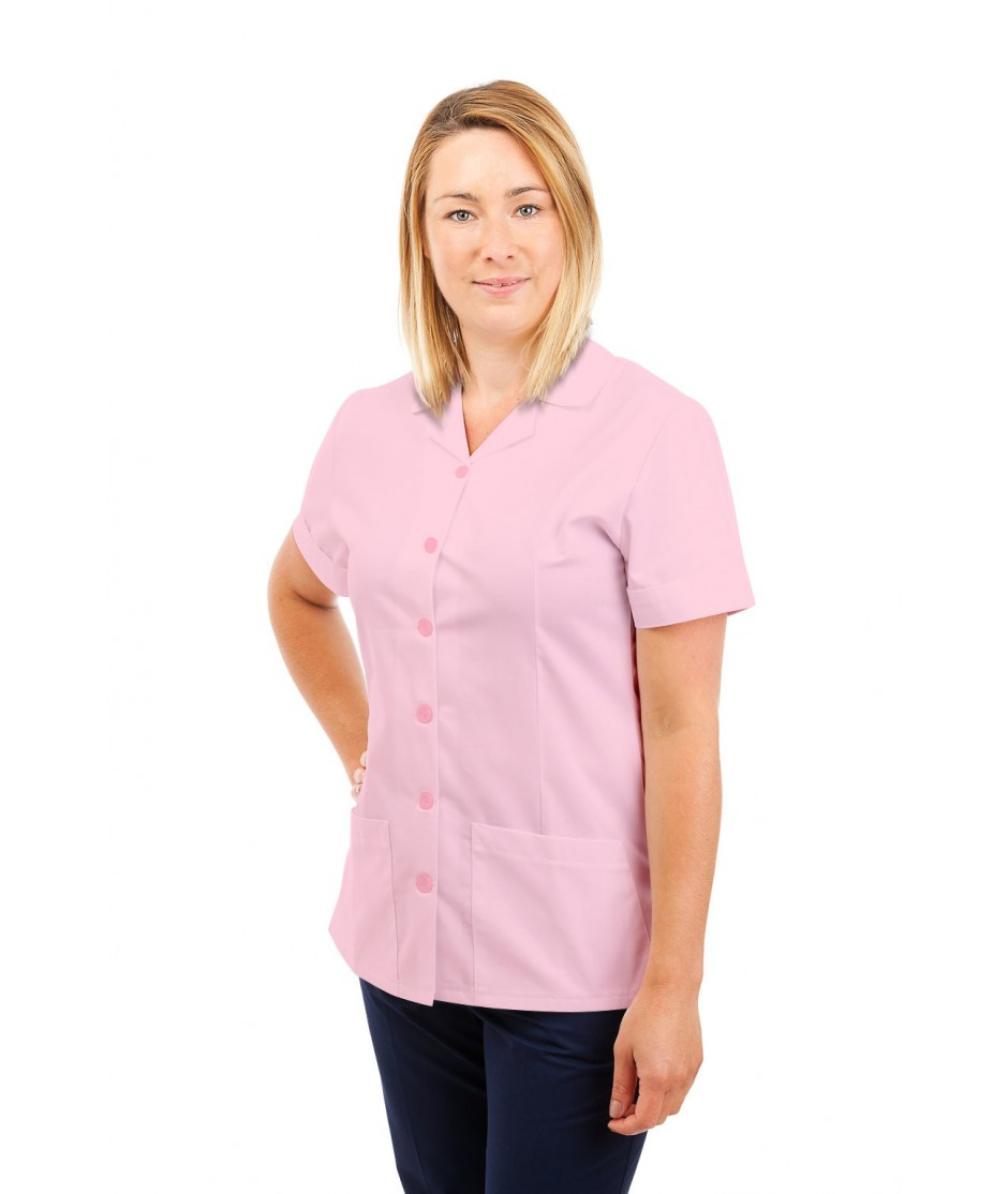 T01 Nurses Uniform Tunic Revere Collar Pink T01-LPI