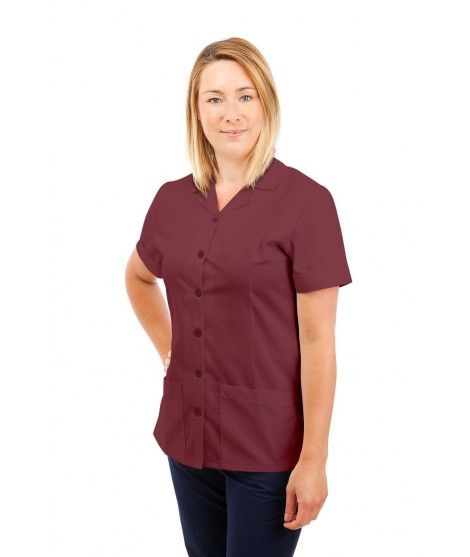 T01 Nurses Uniform Tunic Revere Collar Wine T01-WIN