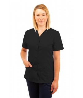 T02 Nurses Uniform V Neck Black T02-BLA