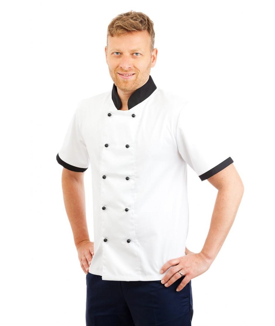 CH10 : Chefs Jacket Short Sleeve Black Trim CH10