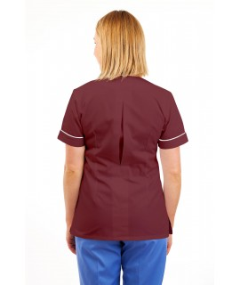 T02 Nurses Uniform V Neck Wine T02-WIN