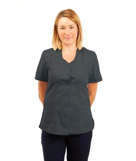 T03 Nurses Tunic Sweetheart Neckline Grey T03-SIL
