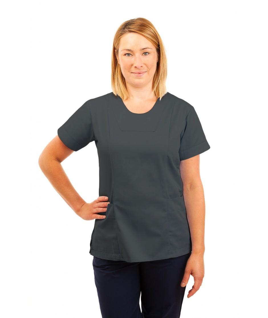 T04 Nurses Uniform Fitted Scrub Round Neck Grey T04-SIL