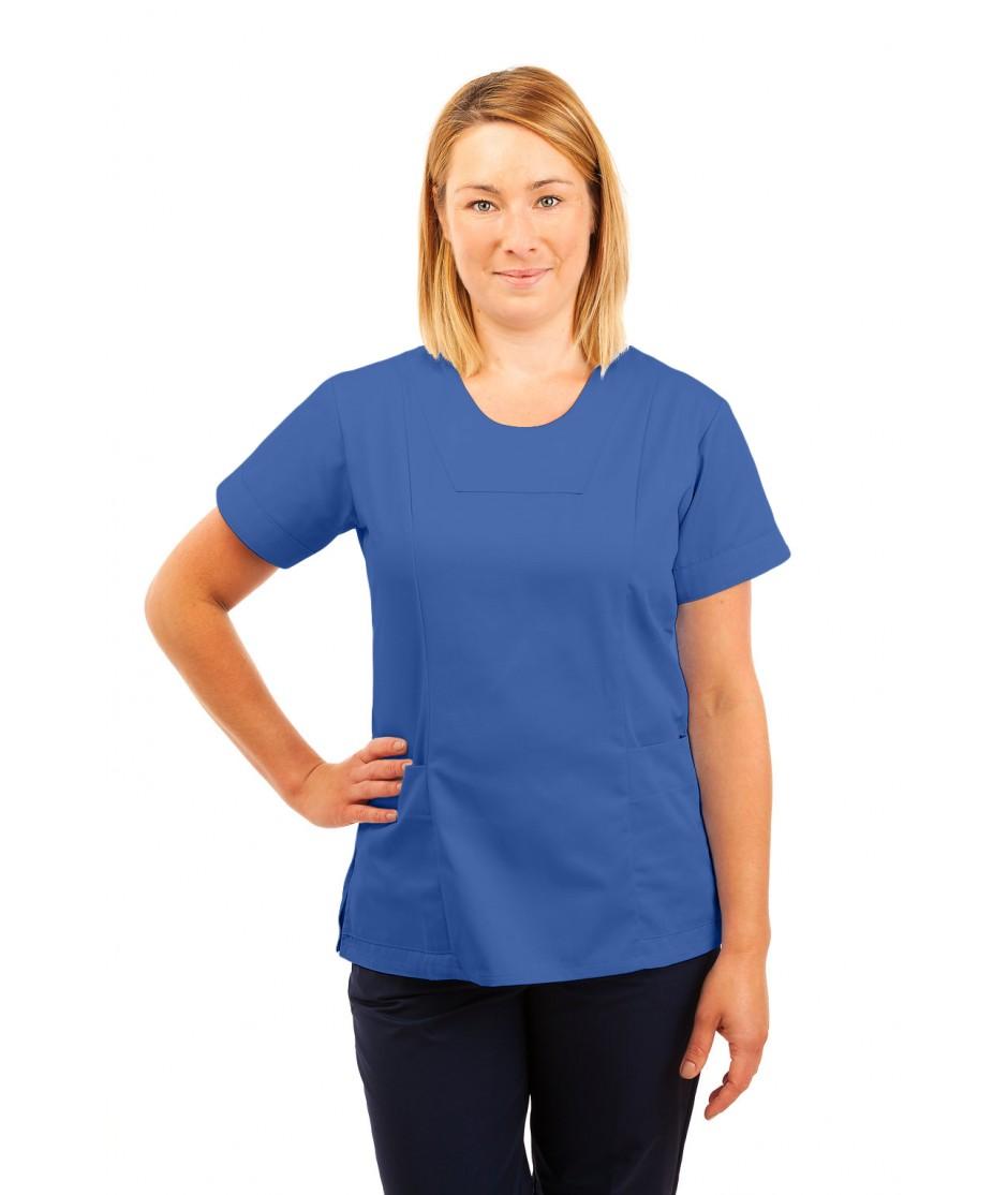 T04 Nurses Uniform Fitted Scrub Round Neck Hospital Blue T04-HBL