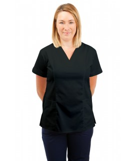 T05 Nursing Uniforms Fitted Scrub V Neck Black T05-BLA
