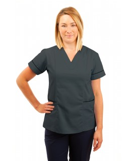 T05 Nursing Uniforms Fitted Scrub V Neck Grey T05-SIL