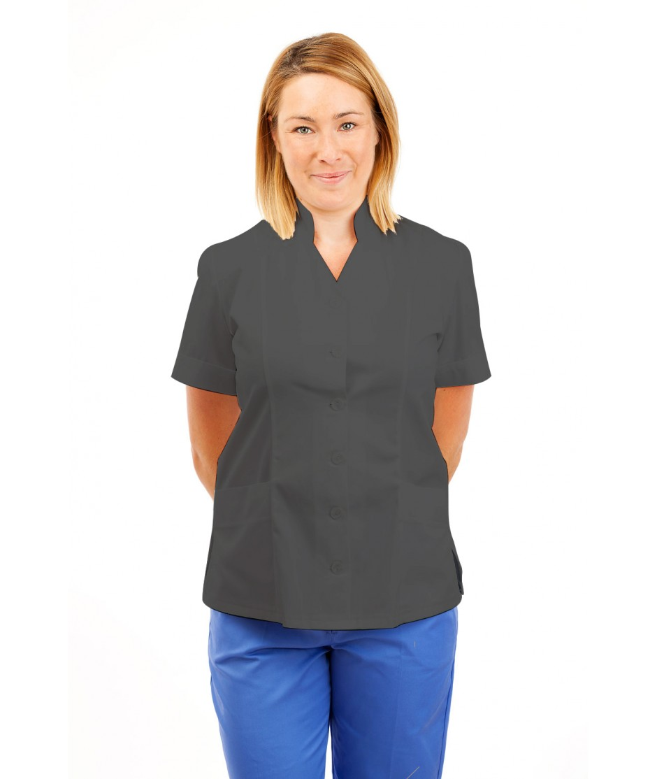 T09 Nurses Top Mandarin Collar cut away front Grey T09-SIL
