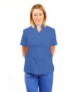 T09 Nurses Top Mandarin Collar cut away front Hospital Blue T09-HBL