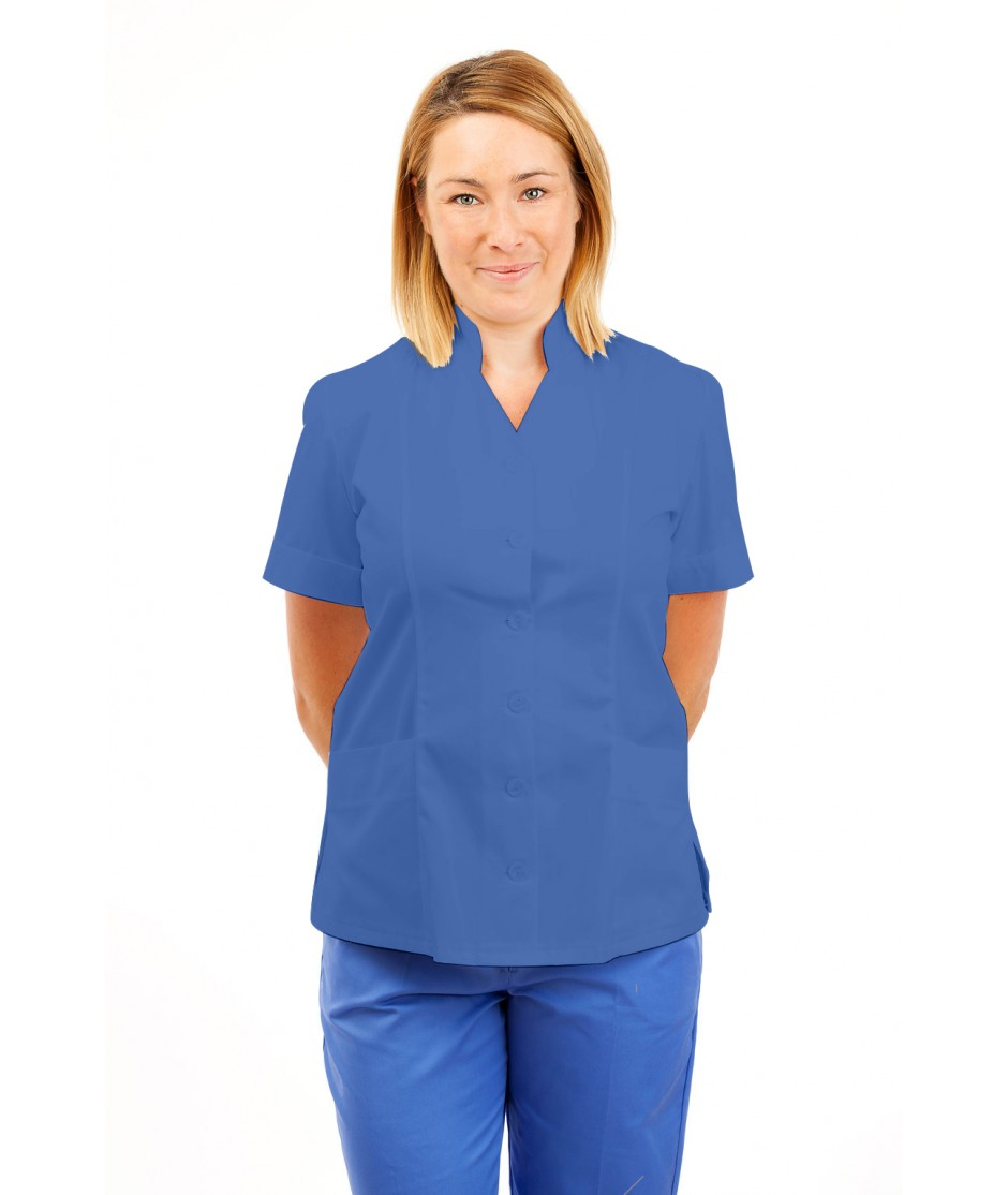 T09 Nurses Top Mandarin Collar cut away front Hospital Blue T09-HBL
