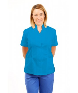 T09 Nurses Top Mandarin Collar cut away front Kingfisher T09-KI