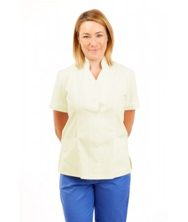 T09 Nurses Top Mandarin Collar cut away front Magnolia T09-MAG