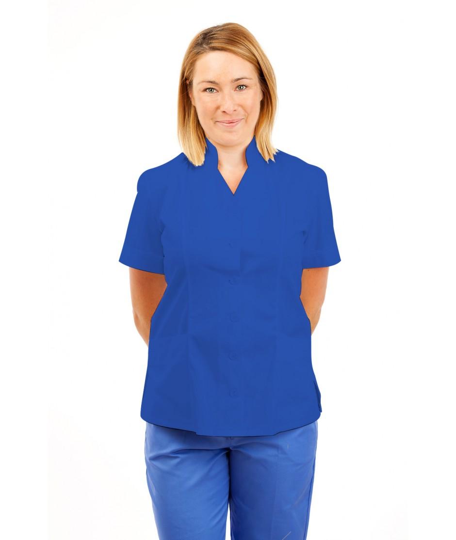 T09 Nurses Top Mandarin Collar cut away front Mid Blue T09-BMB