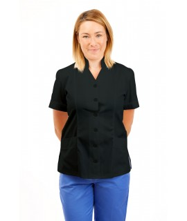 T09 Nurses Top Mandarin Collar cut away front Black T09-BLA