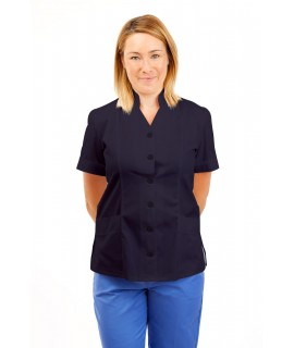T09 Nurses Top Mandarin Collar cut away front Navy T09-NAV