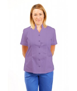 T09 Nurses Top Mandarin Collar cut away front Lilac T09-NLI