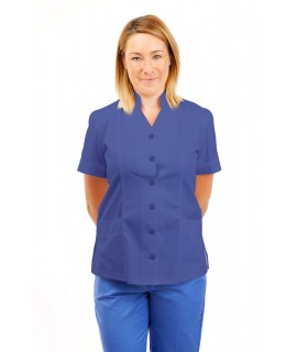 T09 Nurses Top Mandarin Collar cut away front Metro Blue T09-MET