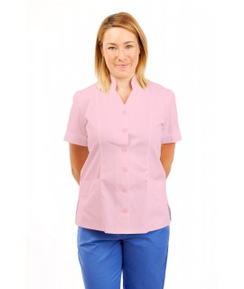 T09 Nurses Top Mandarin Collar cut away front Pink T09-LPI