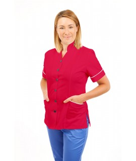 T09 Nurses Top Mandarin Collar cut away front Rosita T09-ROS