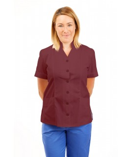 T09 Nurses Top Mandarin Collar cut away front Wine T09-WIN