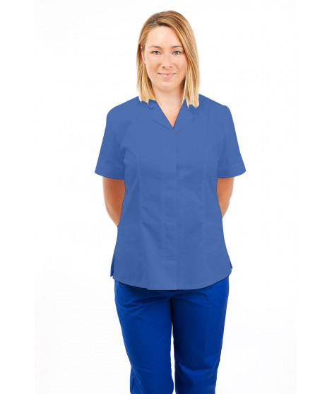 T10 Nurses Uniforms Ladies Tunic Revere Collar Concealed Buttons Hospital Blue T10-HBL